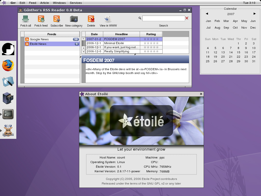 Étoilé screenshot with Dock, Grr, Info Panel